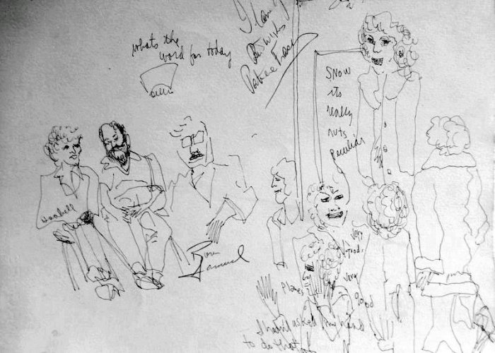 I would draw several sketches and take them home to water color, giving one to the star in exchange for an autograph, or trade to the bartender for a few drinks. After 35 years or so, some were unfinished and I can't remember the name of the play,so forgive .