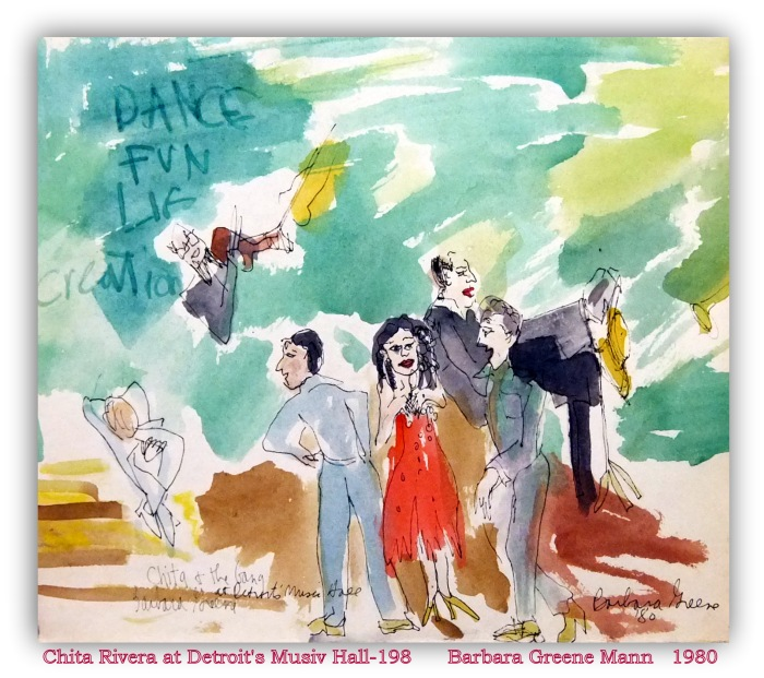 "CHITA RIVERA PERFORMANCE AT DETROIT""S MUSIC HALL Watercolor, pen and ink on paper"